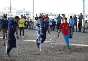 عدد من جرحى غزة ينظمون مباراة تزامنًا مع افتتاح كأس العالم بروسيا
