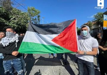تظاهرة رافضة للسلب والتهجير في حي الشيخ جراح بمدينة القدس
