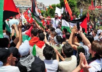 دمشق.. وقفة داعمة للمقاومة وشعبنا الفلسطيني في وجه عدوان الاحتلال