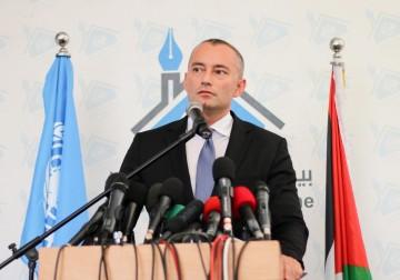 مؤتمر صحفي لمنسق عملية السلام في الشرق الأوسط عقده في مقر بيت الصحافة بغزة