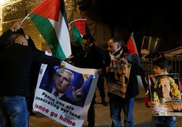 تظاهرة احتجاجية في ساحة المهد ببيت لحم، ضد زيارة نائب الرئيس الأمريكي مايك بنس – 21 يناير
