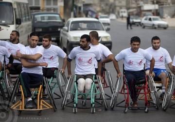 صور ماراثون بمشاركة الجرحى من مبتوري الأطراف بفعل الحروب الصهيونية على غزة