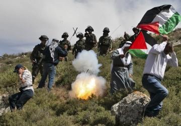 قمع الاحتلال لمسيرة بيت دجن شرق نابلس