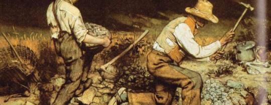 لوحة صراع الخير والشر- للفنان جوستاف كوربيه