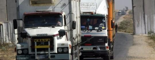 الشاحنات التجارية التي تمر عبر معبر كرم أو سالم