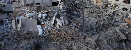 جانب من الدمار الذي خلفه القصف الصهيوني على غزة