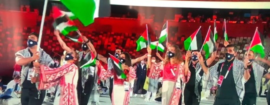 دخول الوفد الفلسطيني خلال حفل افتتاح أولمبياد طوكيو 2020