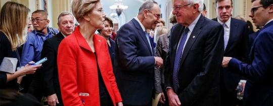 موقف السناتور ساندرز توافق إلى حد كبير مع زميلته وارين حول رفض خطة ترامب