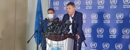 لازاريني خلال المؤتمر الصحفي بغزة