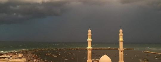 ميناء غزة خلال الأمطار