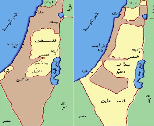 يمين- تمركز اليهود بفلسطين قبل حرب48/ يسار- اللّون البنّي يُمثّل ما احتلّه الكيان بعد الحرب