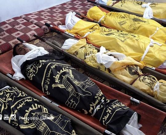 تشييع شهداء عائلة أبو ملحوس في دير البلح