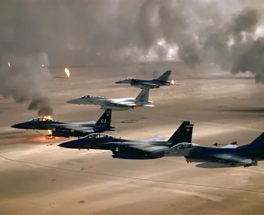 التحالف الغربي - العربي بقيادة الولايات المتحدة الأمريكية يعلن الحرب ضد العراق بعد اجتياحه للكويت