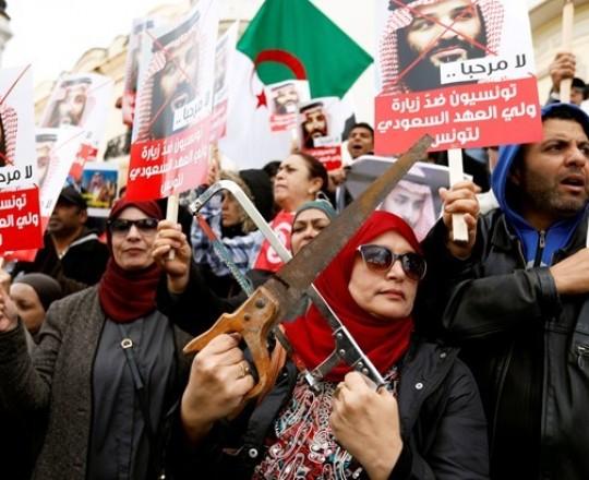 من الاحتجاجات التي حصلت في تونس على زيارة ولي العهد السعودي