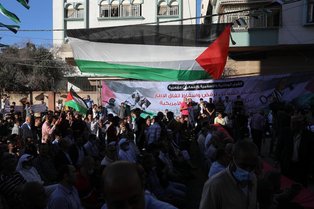 مؤتمر حاشد في غزّة لرفض اتفاق الإطار بين الأونروا وأميركا (2).jpg